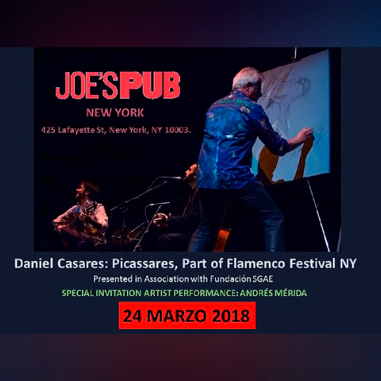 Performance en J´oes Pub . New York . Marzo 2018